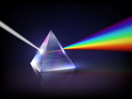 Spectrum refraction. Glass pyramid prism low poly abstract concept glow light refraction inside transparent geometrical form decent vector rainbow Vector Illustration