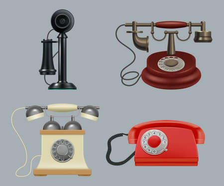Retro phones realistic. Old style vintage gadgets ringing telephone for call center service decent vector illustrations set