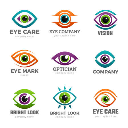 Eyes logo. Optical symbols for ophthalmology clinic clean vision recent vector collections Logos