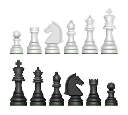 Chess figures. Strategy game symbols pawn horse knights king and queen decent vector realistic pictures