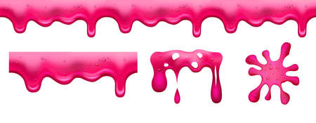 Pink slime. Jam or sweet marmalade. Dessert glazed, isolated red liquid vector elements