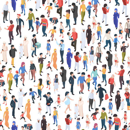 Crowd isometric. Various nationalities and ages male and female persons demographic group garish vector business concept seamless background Vektorové ilustrace
