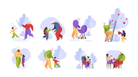 Elderly family. Grandmother and grandfather playing with grandchildren funny kids walking with family garish vector illustrations