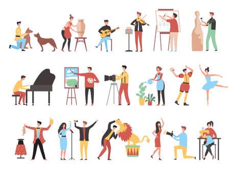Creative occupation. Art work hobbies freelance artistic characters decorator painters artists photographers recent vector stylized persons working Векторная Иллюстрация