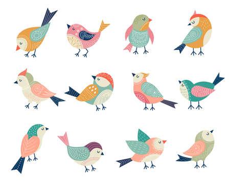 Flying birds. Decorative folk stylized illustrations of birds recent vector floral decor Vetores