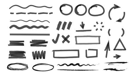 Markers line and tick marks. Pencil, highlighter elements. Drawing business charts vector elements, arrows and lines