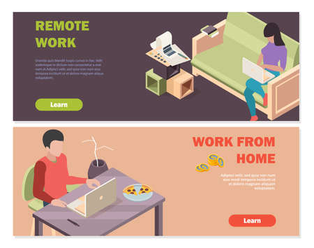 Remote work banners. Isometric people working from home. Man woman with laptop, distance business vector background Stock Illustratie