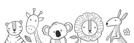 Scandinavian style animals. Drawing animal banner, isolated lion koala kangaroo. Cute childish characters, nature and exotic tiger, giraffe vector background