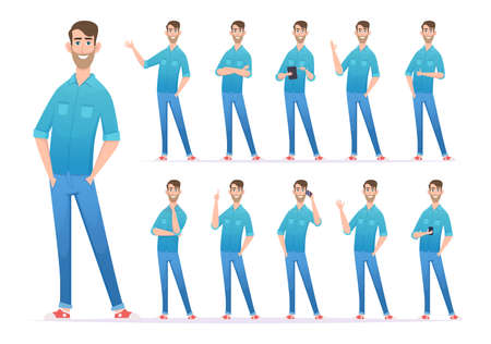 Casual style man. Gestures of man in denim jeans confident presenter looking characters exact vector person in action poses