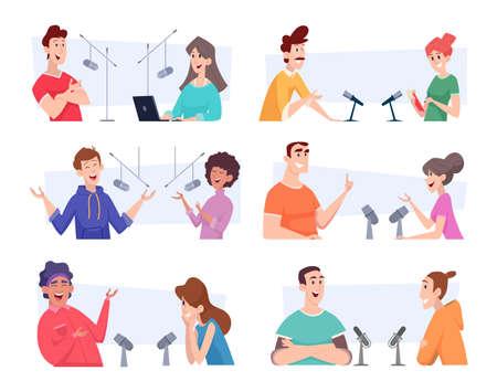 Broadcast dialogue. Radio studio people talking microphones audio speakers exact vector illustrations set