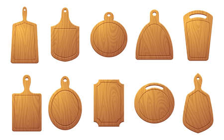 Cutting table for food. Wooden plate for pizza or natural sliced products exact vector colored illustrations isolated