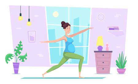Pregnant yoga. Home recreation health activities woman making yoga exercises in modern interior exact vector flat illustration background Stock Illustratie