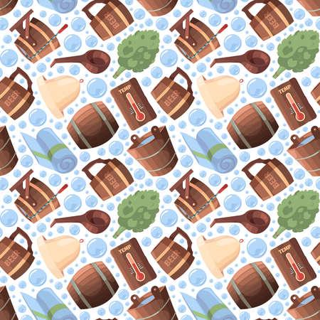 Sauna seamless. Spa relax russian sauna items textile design objects garish vector pattern in cartoon style Stock Illustratie