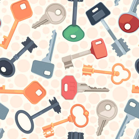 Keys pattern. Protection security symbols steel keys seamless background for textile design projects garish vector locks collection