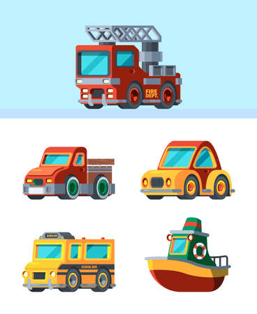 Children toys. Stylized vehicles in cartoon style different transport cars trucks boats airplane garish vector illustrations of mini toys