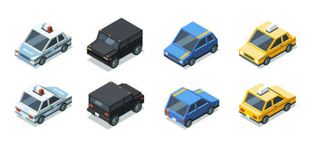Isometric cars. Front and back side views of urban vehicles garish vector transport illustrations