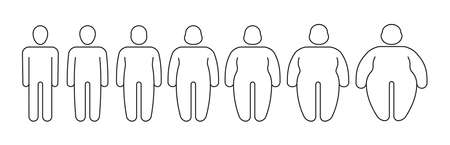 Overweight person. Outline silhouettes of thin and fat people garish vector stylized linear illustrations isolated on white Stock Illustratie