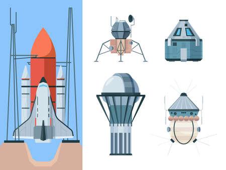 Astronomy set. Exploring universe science collection shuttle telescope planetarium astronomical buildings antena radio garish vector flat pictures set Stock Illustratie