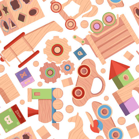 Toys pattern. Vintage wooden attractions for kids textile design projects templates with funny toys blocks cars soldiers dolls garish vector seamless background
