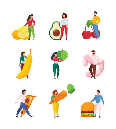 People holding food. Characters with products fruits and vegetables meat junk fastfood garish vector set