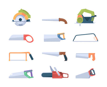 Steel saws. Handle blades and saws for sawmills production garish vector illustrations isolated