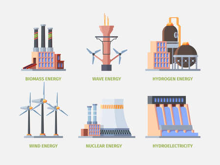 Electricity plant. Power hydro energy industrial building electricity factory station garish vector flat pictures set Stock Illustratie