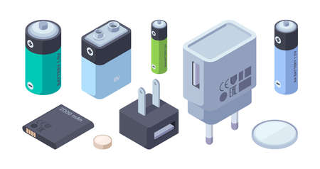 Chargers isometric. Battery power bank portable chargers for plug connection digital gadgets garish vector chargers illustrations Stock Illustratie