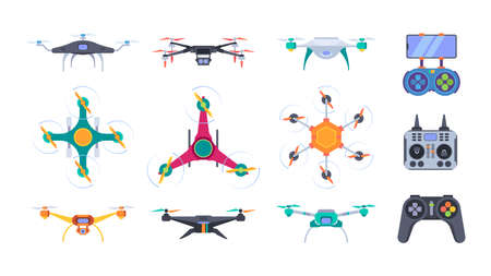 Air helicopters. Delivery drones with camera aerial outdoor photography smart aircraft systems garish vector flat pictures set Stock Illustratie