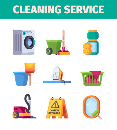 Laundry service. Washing tools cleaning items housekeeping garish vector flat collection
