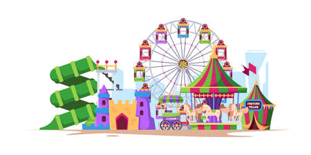 Amusement background. Landscape fun city with attractions for kids big wheels with swing machines with fast food rollercoast