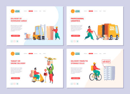 Delivery service landing. Postman deliver mail packages customer services sending paper mail garish vector business web pages