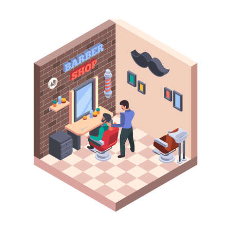 Barber shop interior. Hairdressing stylish room with chairs and washbasins professional worker items razor hairbrush garish vector barbershop isometric illustration