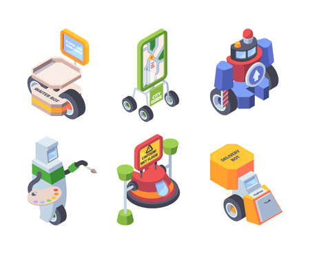 Robot profession. Androids workers doctors artists postman smart helpers for people support application bot personal comunication garish vector isometric illustrations