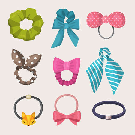 Scrunchy. Elastic ribbons for fashion woman accessories for hairs elastic headband recent vector illustrations collection set