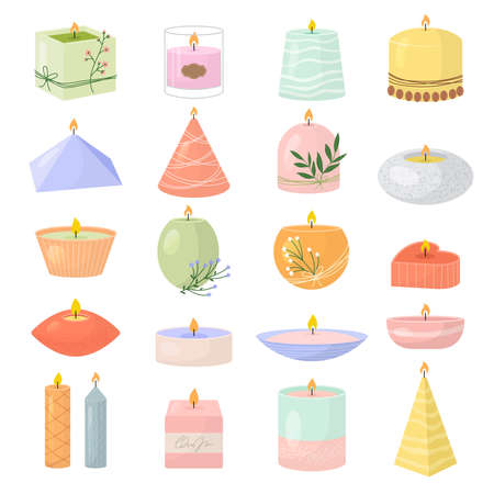 Spa candles. Aroma decoration items for relax room beeswax light colored candles recent vector flat pictures set