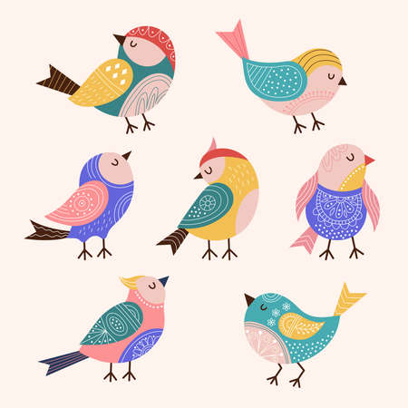 Decorated birds. Trendy stylized colored flying birds with folk and botanical graphics authentic decor recent vector flat pictures set