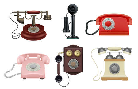 Old phone. Realistic vintage telephones operator items for call center decent vector old style collection