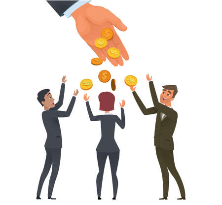 Business investments. Joy team, happy businessmen and golden coin. Falling money from hand vector concept