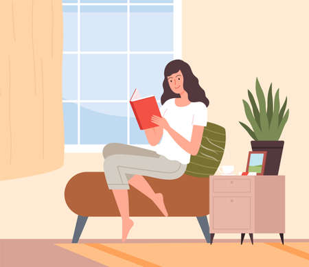 Reading girl. Young woman read book in room, morning education or relax. Summer time, vacation or week end vector illustration