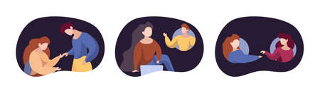 Supporting concept. People support each other. Online and reality helping, persons together vector illustration