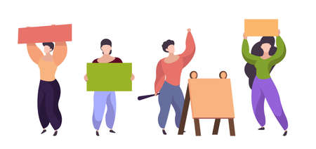 Women with placards. Female characters holding blank posters, isolated people on demonstration vector set