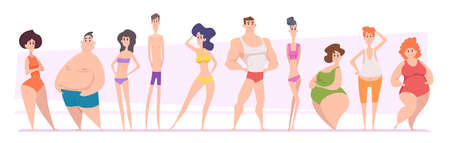 Woman and man bodies. Adult girls and boys types of bodies shapes thin tall skinny fat exact vector illustrations people Stock Illustratie