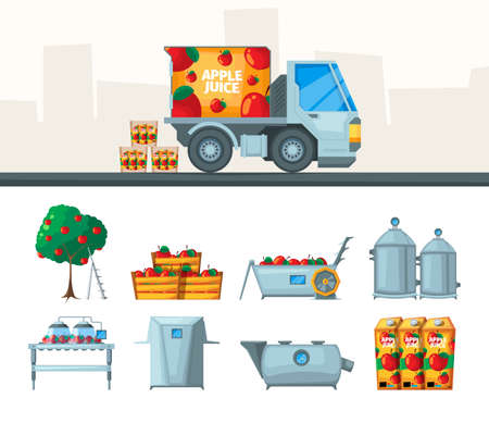 Juice production. Industry conveyor of juice from fruits beverage food garish vector flat pictures set isolated