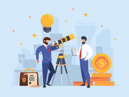 Businessman watching telescope. Successful team working exploring universe looking observer business concept garish vector background in flat style