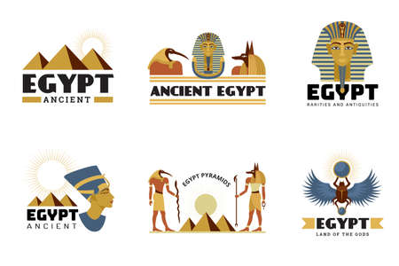 Egypt stickers. Ancient monuments sphinx statue pyramid desert travel symbols recent vector stylized labels