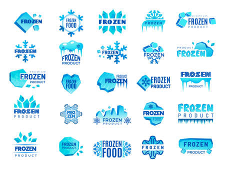 Frozen product logo. Snow and winter snowflakes from ice stylized symbols for logo design cold food temperatures recent vector templates collection set
