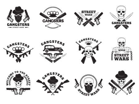 Bandits labels. Mafia stylized monochrome badges hooligans recent vector symbols collection set