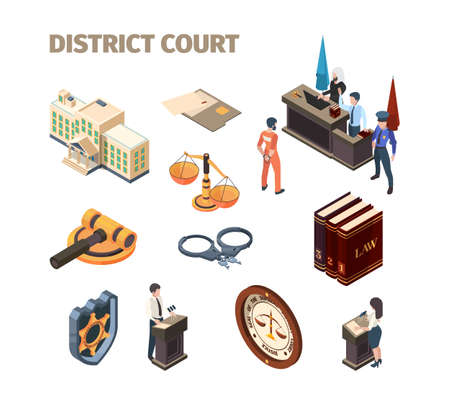 Justice legal isometric. Government law evidence defendant punishment judgment talking at court garish vector pictures collection