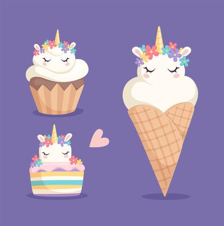 Unicorn sweets. Ice cream, cupcake and color rainbow cake with cartoon unicorns. Fantastic horses or pony desserts vector illustration