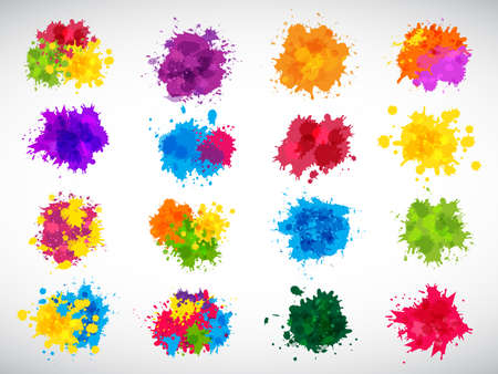 Color splashes. Abstract ink brushes shapes liquid colored templates splatters magenta yellow blue recent vector illustrations set for design projects